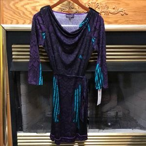 Hale Bob Cowl Neck Tie Waist 3/4 Sleeve Dress